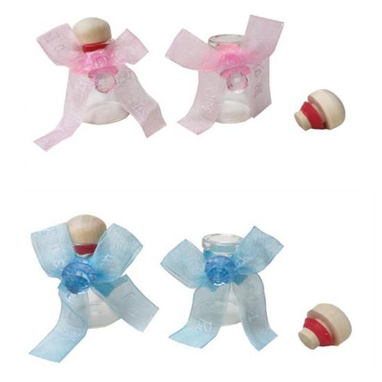 Bebek Şekeri Süslü Şişe Cam Ahşaptıpalı 15 Cc (12 Adet)