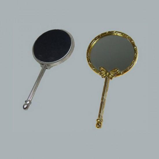 Ayna Yuvarlak Kelebekli Metal Altın (10 Adet)
