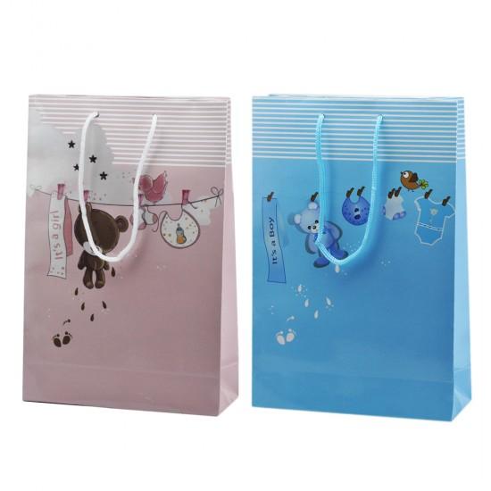 Çanta Karton Bebek Temalı Ayıcıklı Ve Kuşlu 17X25 (25 Adet)