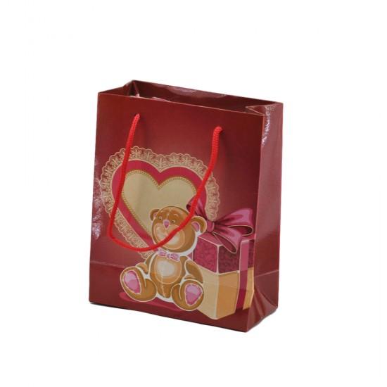 Çanta Karton Hediye Çantası Kalpli Ayıcıklı 14X17 Cm (25 Adet)