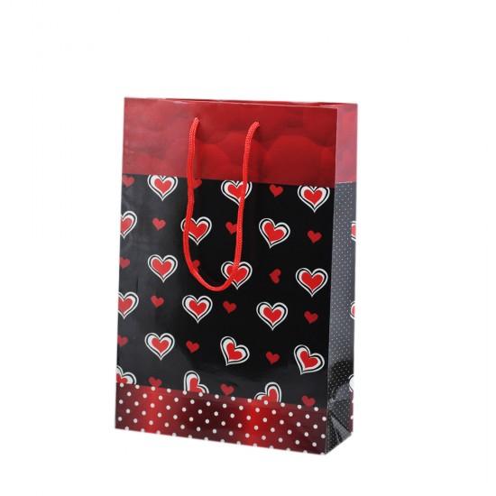 Çanta Karton Küçük Boy Kırmızı Kalpli 17X25 (25 Adet)