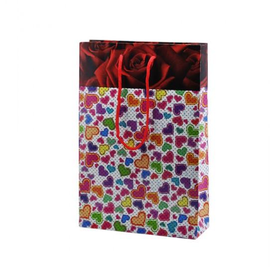 Çanta Karton Küçük Boy Komple Karışık Renk Kalpli 17X25 (25 Adet)