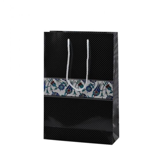 Çanta Karton Küçük Boy Laleli Siyah Puanlı 17X25 (25 Adet)