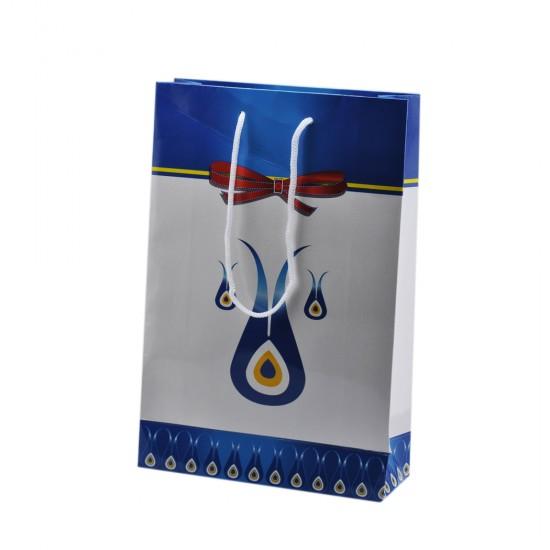 Çanta Karton Küçük Boy Nazarlıklı Fiyonklu 17X25 (25 Adet)