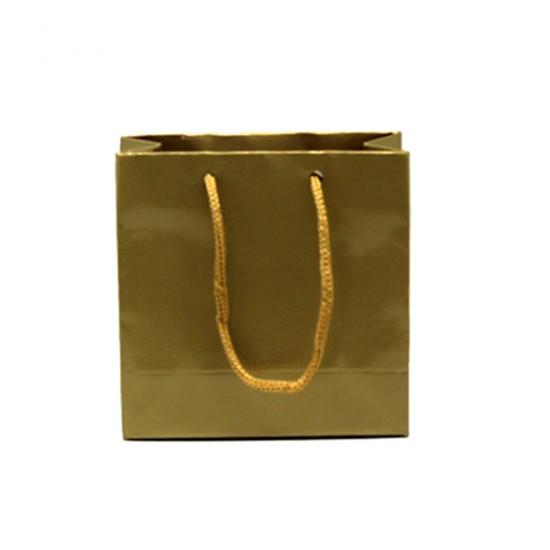 Karton Çanta Minik Boy Düz Renk Altın/ Gümüş 11X11 CM (50 Adet)