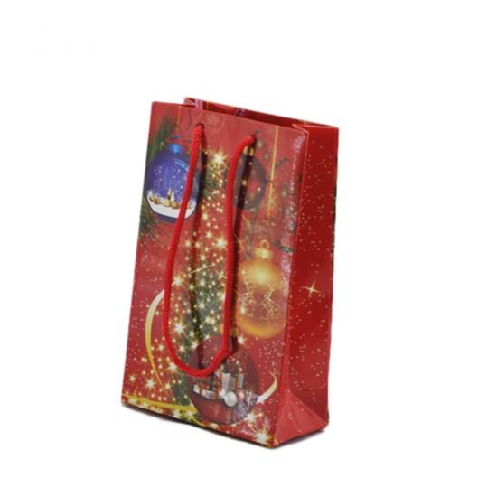 Karton Çanta Yılbaşı Temalı Çam Ağaçlı 11X17 Cm (25 Adet)