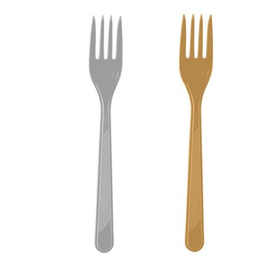 Çatal Plastik Altın / Gümüş (25 Adet)