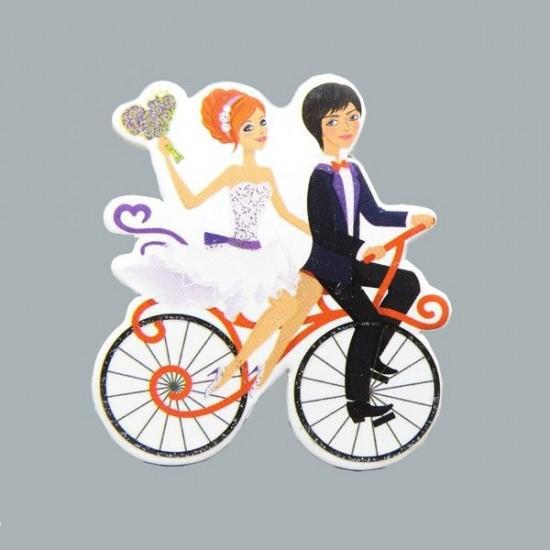 Sticker Karton Gelin-Damat Bisikletli (50 Adet)