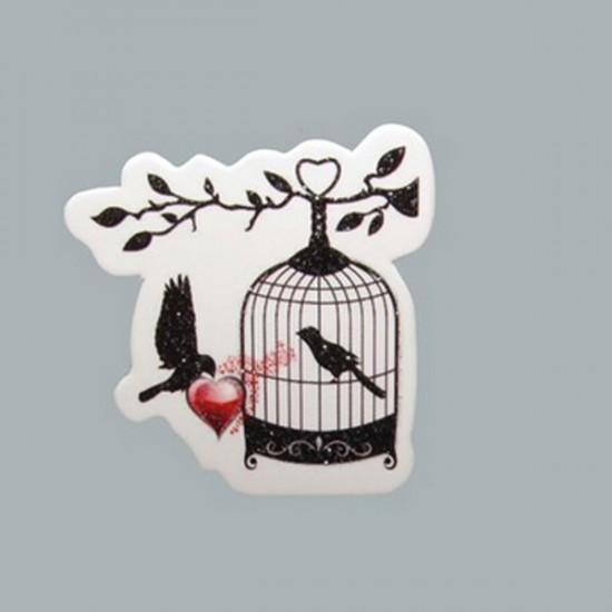 Sticker Kuş Kafesi Kalpli Güvercinli (50 Adet)