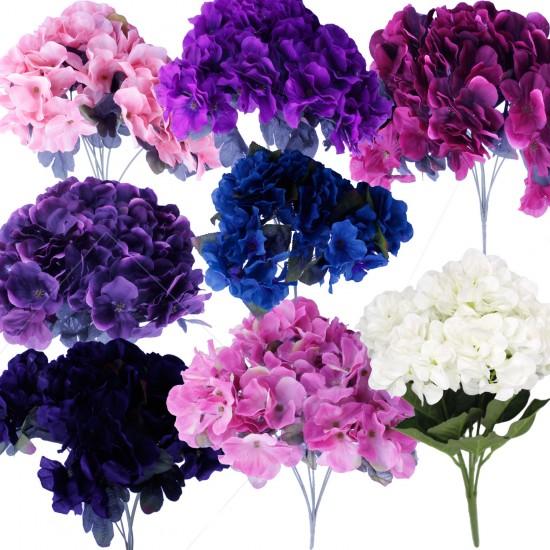 Gelin El Buketi Ortanca Modeli 7 Başlı Yapay Çiçek Demeti