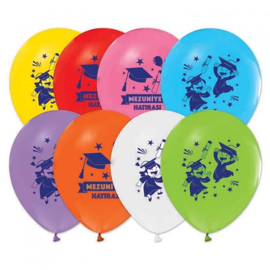 Çocuk Mezuniyet Balonu Mezuniyet Hatırası Baskılı 12 İnç(20 Adet)