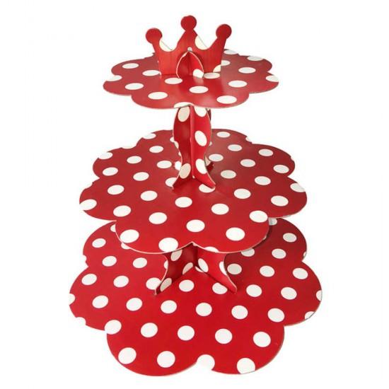 3 Katlı Karton Cupcake Standı Puantiyeli Kek Standı