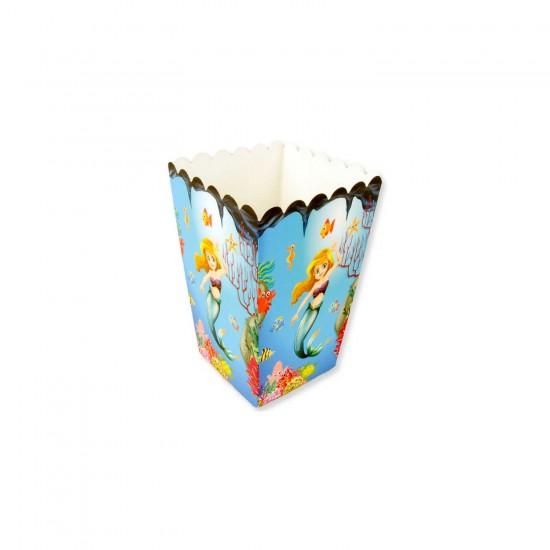 Deniz Kızı Temalı Popcorn Kutusu Karton Mısır Cips Kutusu 10 Adet