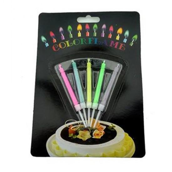 Doğum Günü İnce Uzun Kendi Renginde Yanan Renk 5 Li