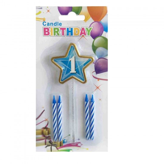 Doğum Günü Mumu 1 Yaş İçin Mum Yıldızlı 5 Li Set