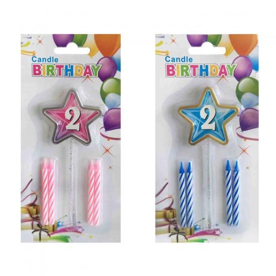 Doğum Günü Mumu 2 Yaş İçin Mum Yıldızlı 5 Li Set