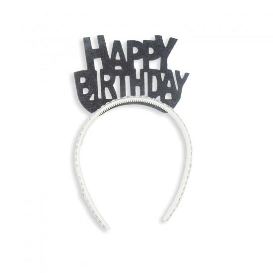 Evadan Taç Simli Taşlı Happy Birthday Yazılı
