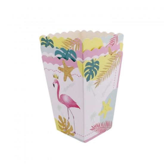 Flamingo Temalı Karton Popcorn Kutusu ve Mısır Kutusu (10 Adet)