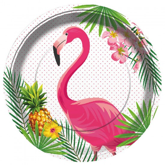 Flamingo Temalı Karton Tabak 23 CM (8 Adet)