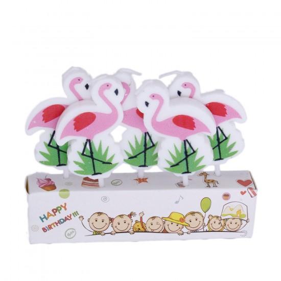 Flamingo Temalı  Kürdanlı Mum  5 li Set