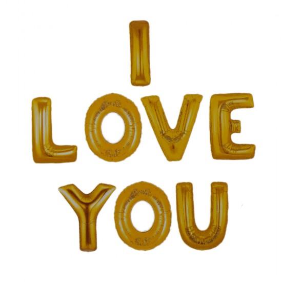 Folyo Balon I Love You  Set Altın/Gümüş/Kırmızı 45 Cm