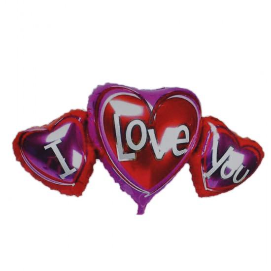 Folyo Balon I Love Yazılı Üçlü Kalpli Parlak