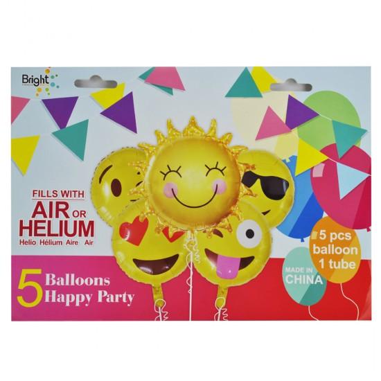 Folyo Balon Mutlu Emojiler Ve  Güneş Kızlı 5 Li Set