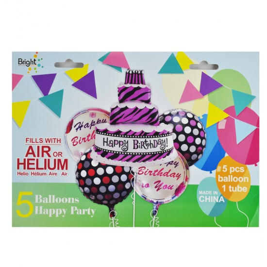 Folyo Balon Pastalı Ve Happy Birthday Yazılı Puantiyeli 5 Li Set