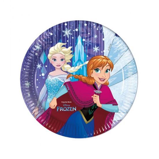 Frozen Snowflakes Temalı Karton Tabak 23 Cm (8 Adet)