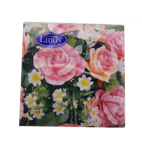 Gül  Desenli  Kağıt Peçete 33 CM X 33 CM  (20 Adet)