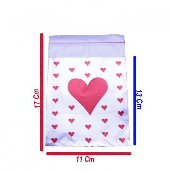 Hediye Paketi İçin Kalpli Yapışkanlı Poşet 11CMX17CM (100 Adet)