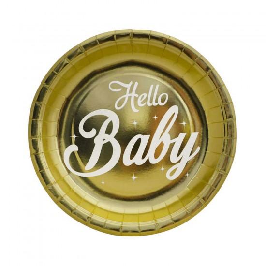 Hello Baby Temalı Metalize Tabak 23 CM (6 Adet)