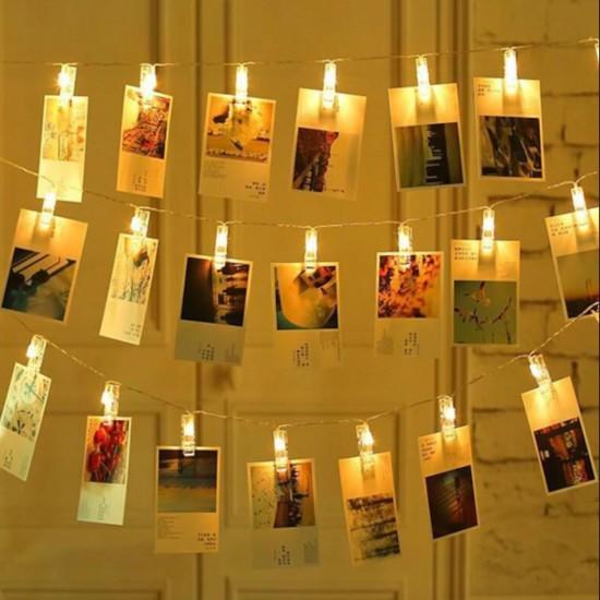 Işıklı Fotoğraf Mandalı  Küçük 10 Adet Dekoratif Led Işıklı 2 MT