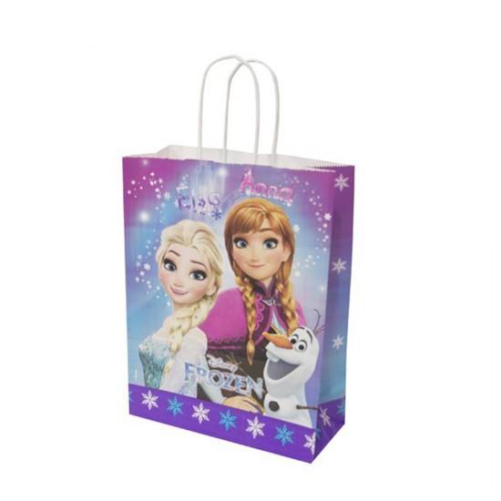 Frozen Temalı Kağıt Parti Çantası 18X24 Cm (12 Adet)