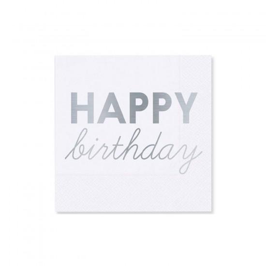 Kağıt Peçete Altın Varak Baskılı Happy Birthday 33X33CM (16 Adet)