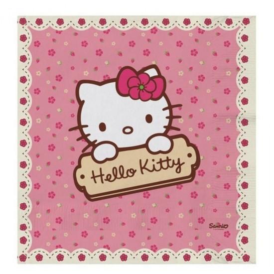 Hello Kitty Hearts Temalı Kağıt Peçete (20 Adet)