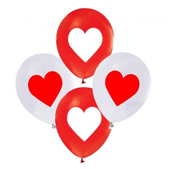 Kalp Baskılı Balon 12 Inç Beyaz/Kırmızı Karışık Renk (20 Adet)