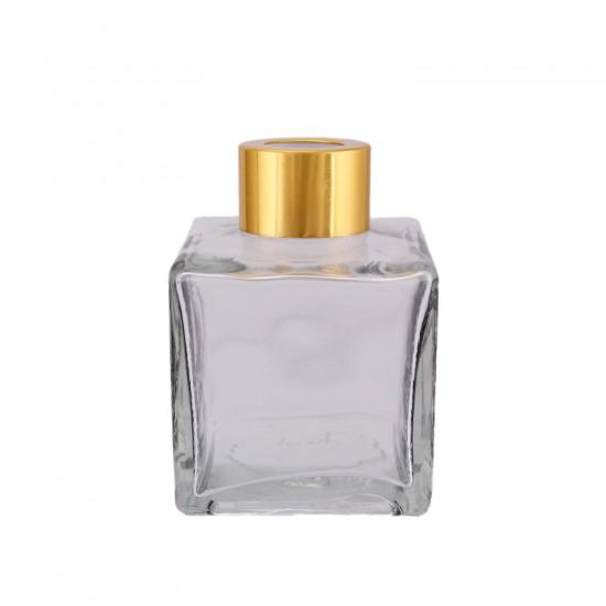 Kare Cam Şişe Oda Parfümü İçin Lale Desenli 120 Cc (10 Adet)