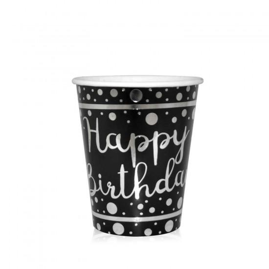 Karton Bardak Parlak Gümüş Varak Baskılı Happy Birthday (6 Adet)