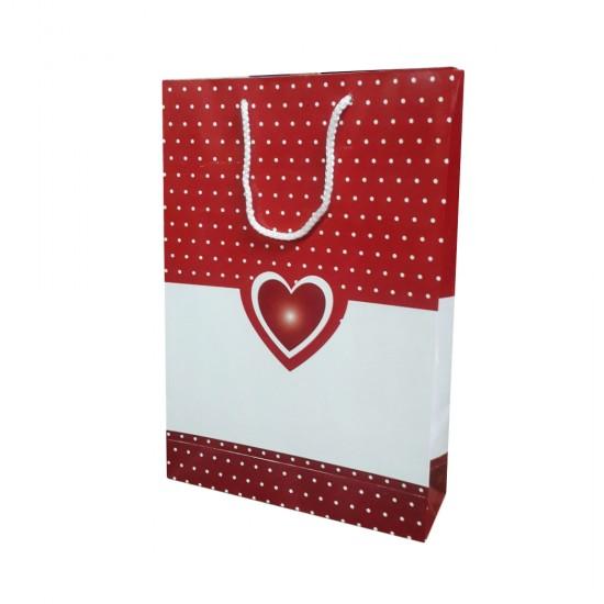 Karton Hediye Çantası Kırmızı Beyaz Kalpli 26X38 (25 Adet)