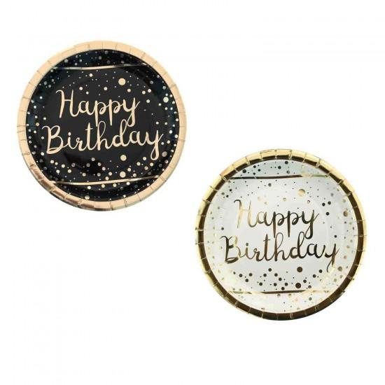 Karton Tabak Parlak Altın Varak Baskılı Happy Birthday (6 Adet)