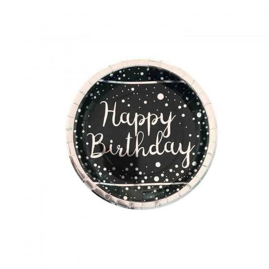 Karton Tabak Parlak Gümüş Varak Baskılı Happy Birthday (6 Adet)
