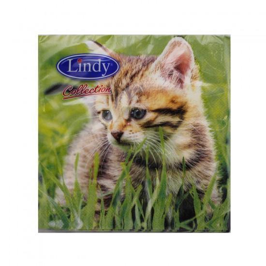 Kedi Desenli  Kağıt Peçete 33 CM X 33 CM  (20 Adet)