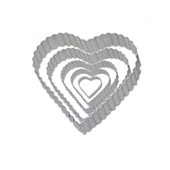 Kek Kurabiye Ve Pasta Kalıbı Metal Kalp TIRTIKLI 5 Li Set 020