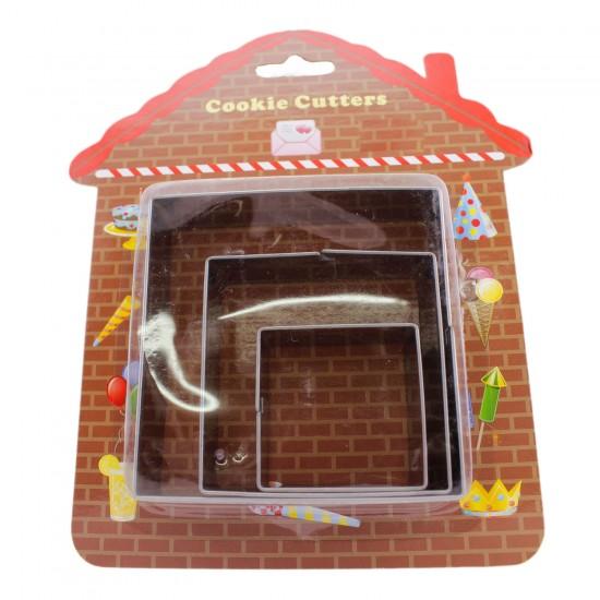 Kek Kurabiye Ve Pasta Kalıbı Metal Kare 3 Lü Set 021