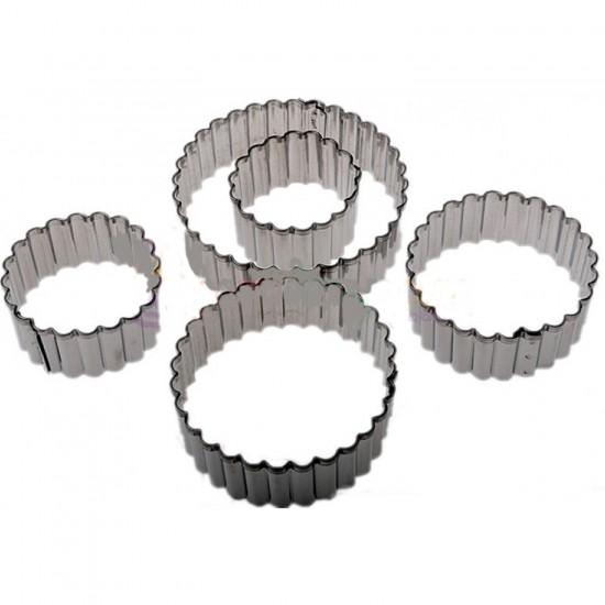 Kek Kurabiye Ve Pasta Kalıbı Metal 5 Li Set Yuvarlak Tırtıklı