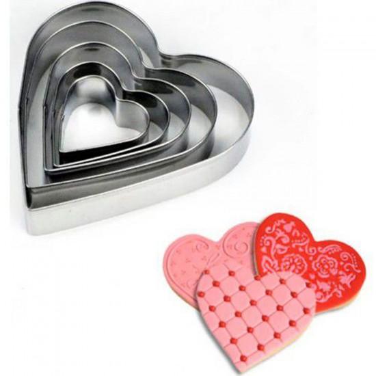 Kek Kurabiye Ve Pasta Kalıbı Metal Kalp Modeli 5 Li Set