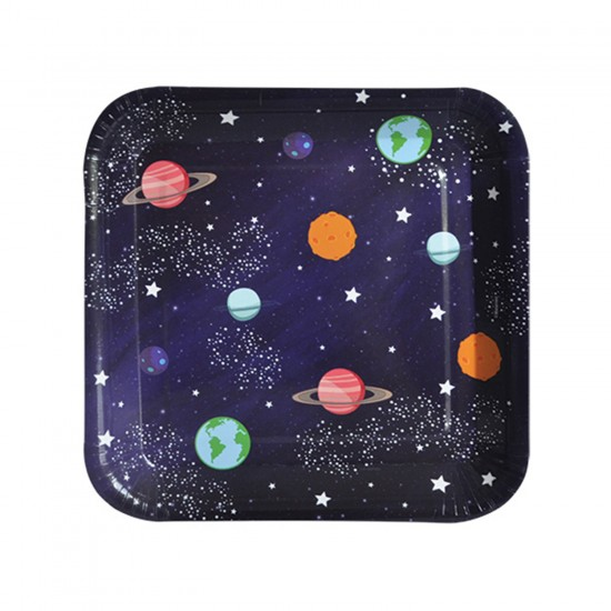 Kozmik Galaksi Temalı Karton Tabak KARE Model 18 CM (8 Adet)