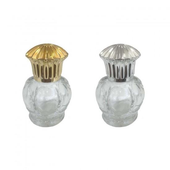 Kral Taçlı Akrilik Kapaklı Cam Şişe Altın/Gümüş 50 CC (10 Adet)