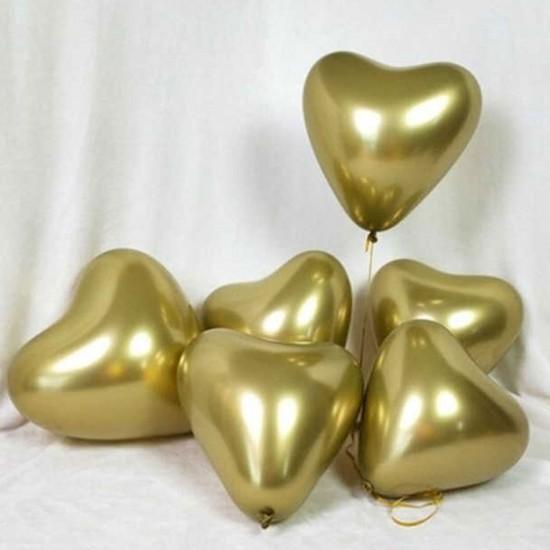 Krom Balon Parlak (Mırror) 16 İnc Kalp Model Altın/Gümüş (5 Adet)